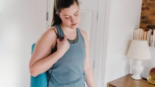 woman tired from doing yoga