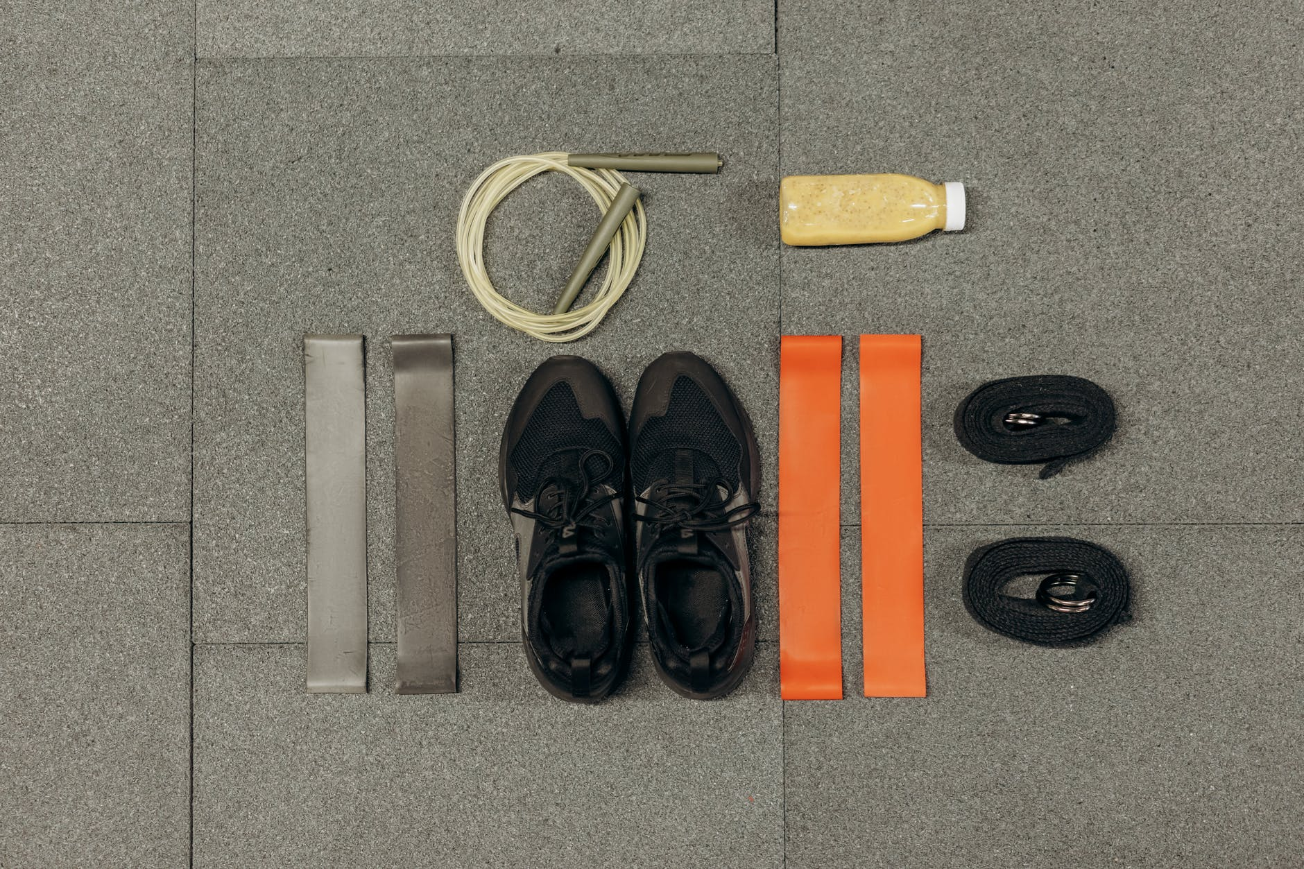 black training shoes and exercise tools